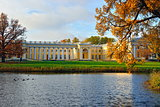 The Alexander palace in Pushkin. Autumn landscape