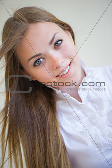 portrait of the beautiful girl with a flowing hair