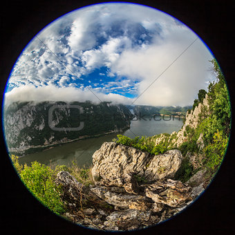 fisheye lens image of Danube Gorges