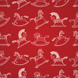 Christmas hand-drawn pattern with rocking horses, vector Eps10 illustration.