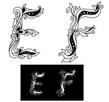 Decorated capital letters E and F