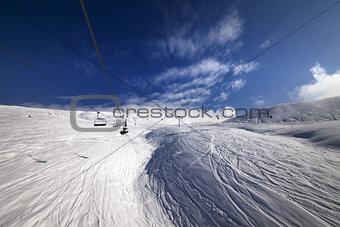 Ropeway over ski slope