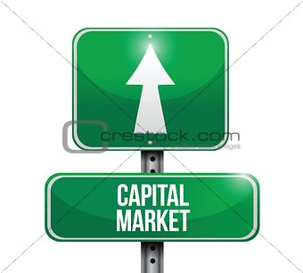 capital market road sign illustrations