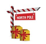 north pole gifts sign illustration design