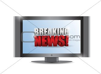 breaking news sign on a tv. illustration design