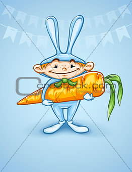 Happy little boy in rabbits costume with big carrot