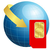 Sim card with globe and arrow