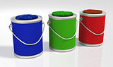 three grassy colored  pots