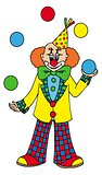 Juggling clown on white background