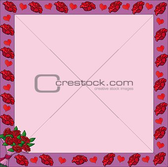 Frame with valentine roses