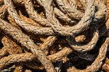 Detail of old used marine rope