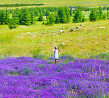 Beautiful girl enjoying lavender field