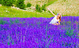 Cute female on lavender field
