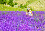 Beautiful woman on lavender meadow