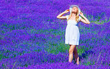 Cute girl enjoy lavender meadow
