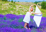 Woman dance on lavender field