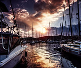 Yacht port on dramatic sunset