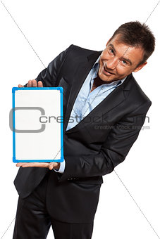 one business man holding showing whiteboard