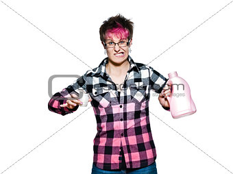 Angry woman holding detergent