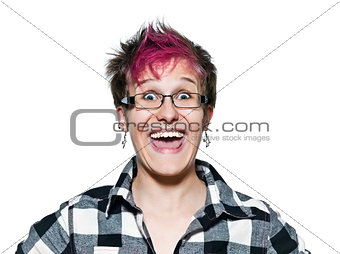 Woman laughing with eyes wide open