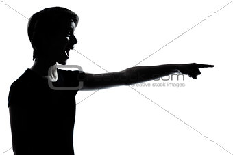 one young teenager boy or girl pointing laughing silhouette