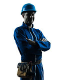 man construction worker smiling friendly silhouette portrait