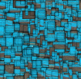grunge mosaic tile fragmented backdrop in blue