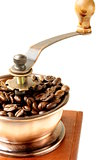 wooden coffee grinder on a white background
