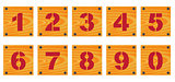 Wooden signs with numbers