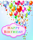 Abstract background with Happy Birthday label