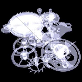 Clock mechanism. X-ray render