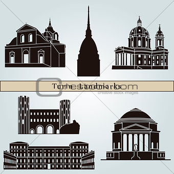 Turin landmarks and monuments isolated