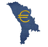 European currency symbol on map of Moldova