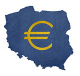 European currency symbol on map of Poland