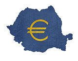European currency symbol on map of Romania