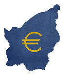 European currency symbol on map of San Marino