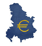 European currency symbol on map of Serbia and Montenegro