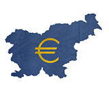 European currency symbol on map of Slovenia