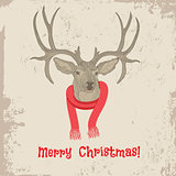 Deer head vintage Christmas card