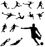 soccer silhouettes set