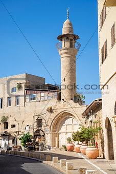 street with minaret in tel aviv israel