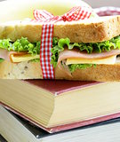 sandwich with ham, apple, banana and granola bar - healthy eating, school lunch