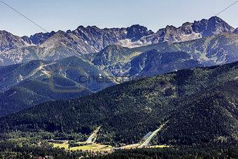 Ski jumps in Zakopane in the summer time