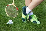 foot of woman who plays badminton