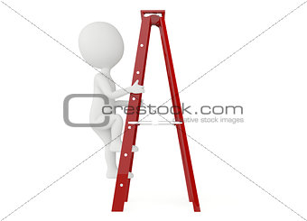 3d humanoid character up a ladder