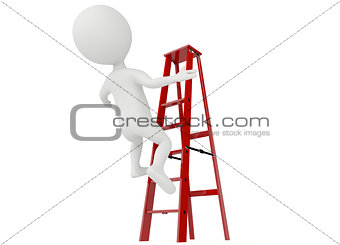 3d humanoid character falling from a red ladder