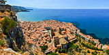 Aerial panoramic view of village Cefalu in Sicily