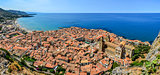 Panoramic view of village Cefalu and ocean, Sicily
