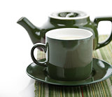 Green Tea Pot And Cup