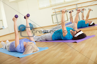 Exercising in gym